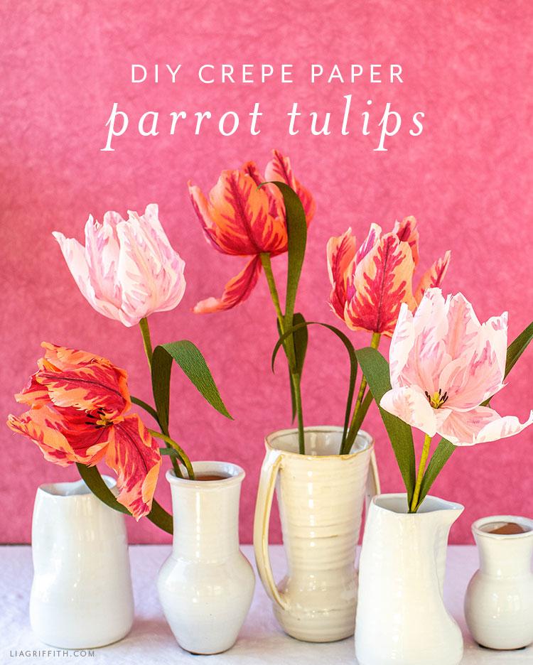 DIY crepe paper parrot tulips