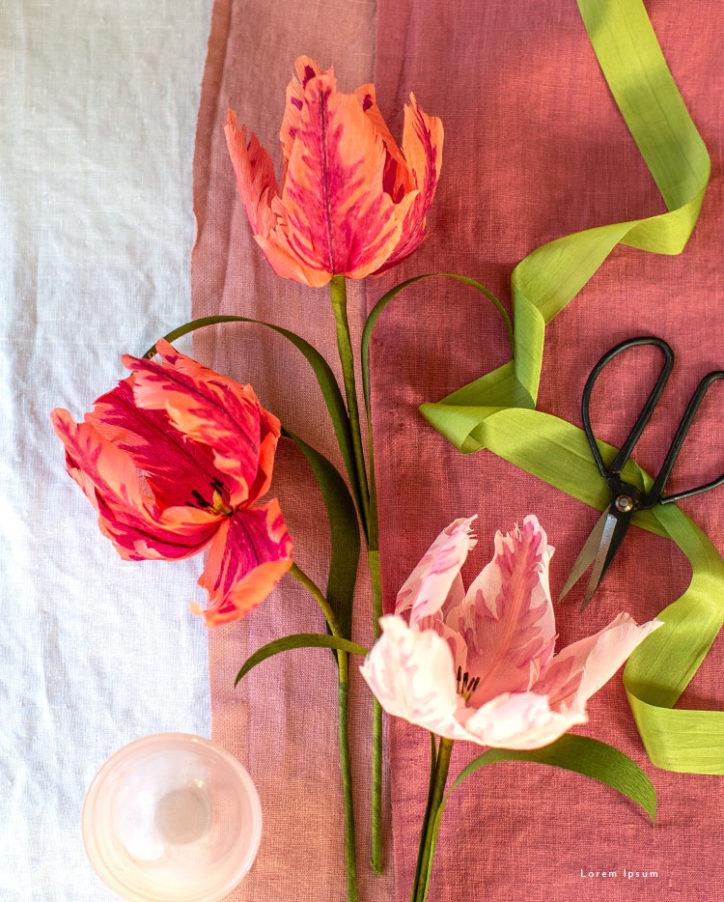 handcut crepe paper parrot tulips