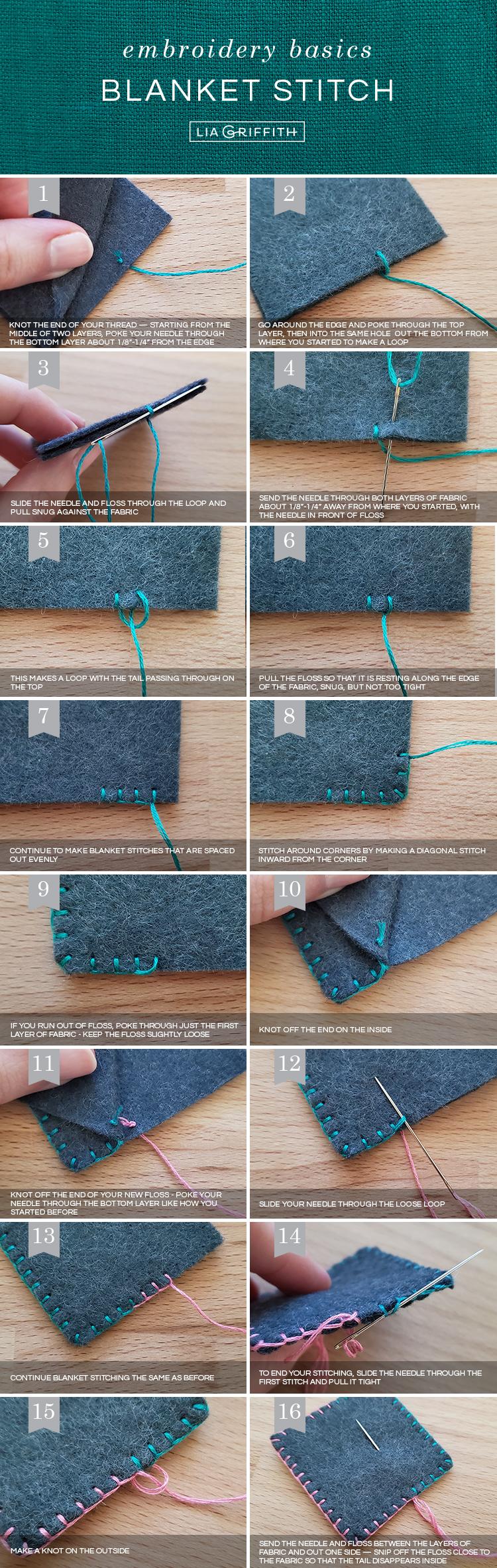 basic embroidery stitches: blanket stitch tutorial