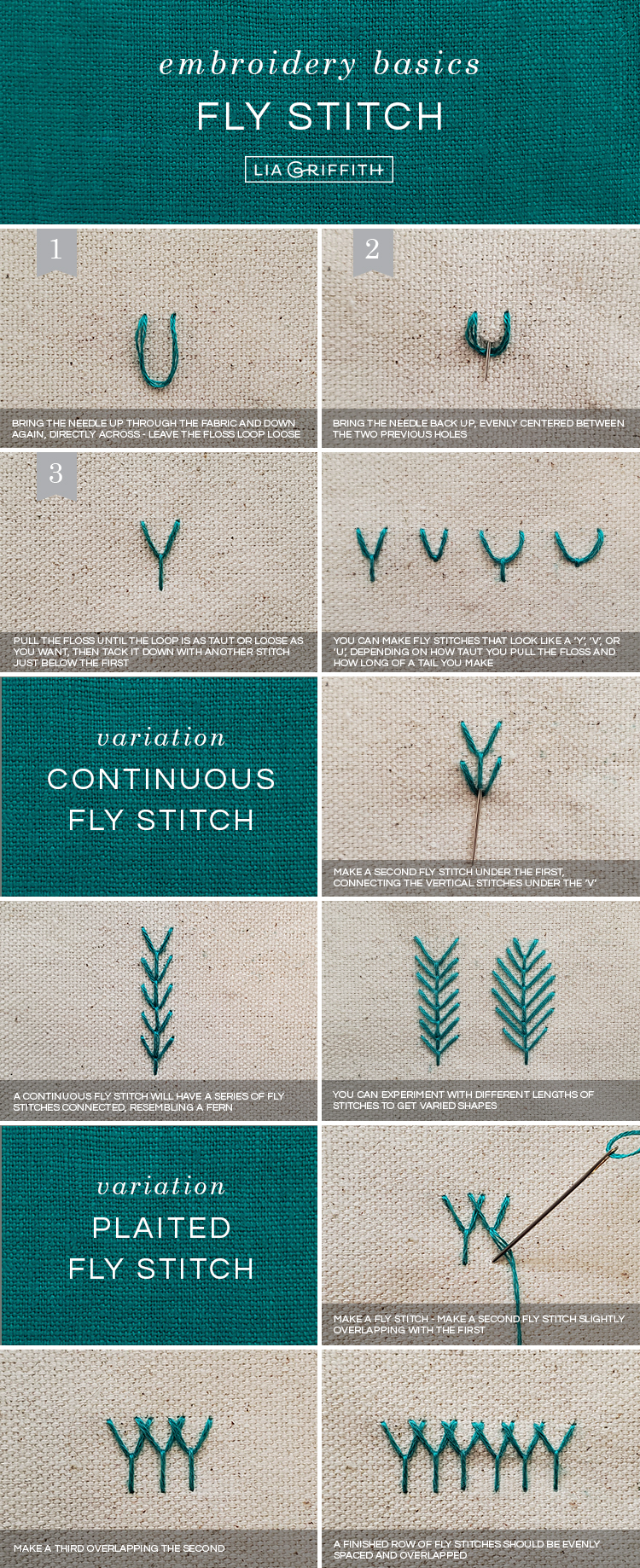 basic embroidery stitches: fly stitch tutorial