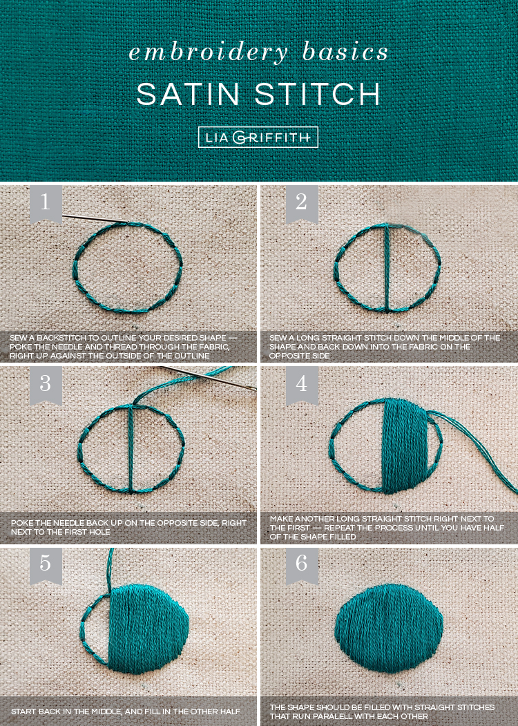 basic embroidery stitches: satin stitch tutorial