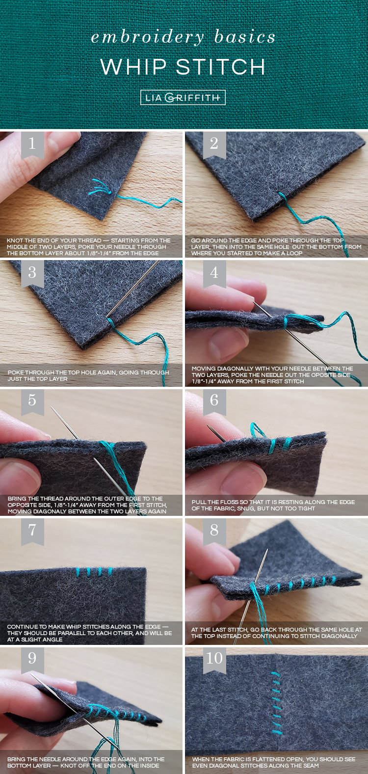 basic embroidery stitches: whip stitch tutorial