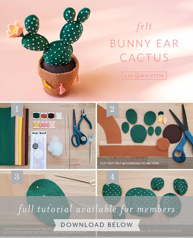 Photo tutorial for felt bunny ear cactus by Lia Griffith