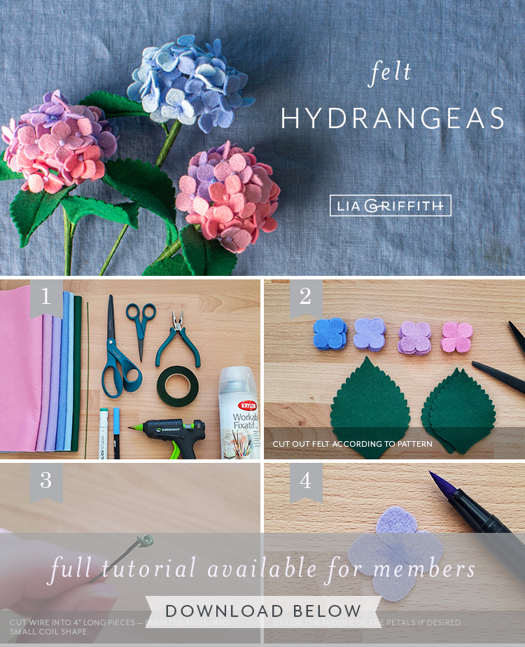 Photo tutorial for felt hydrangeas by Lia Griffith