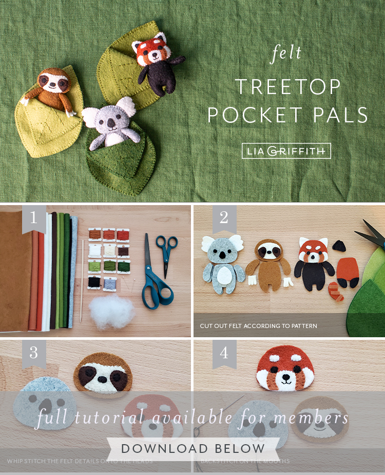 Photo tutorial for felt treetop pocket pals by Lia Griffith