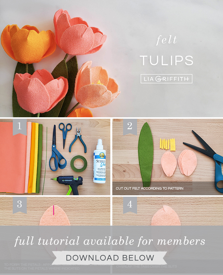 Photo tutorial for felt tulips by Lia Griffith