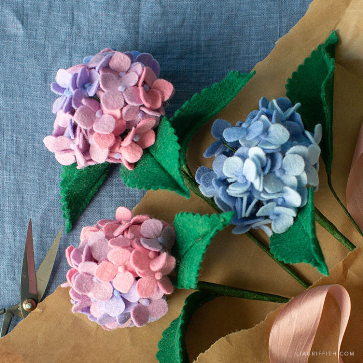 pink and blue felt hydrangeas
