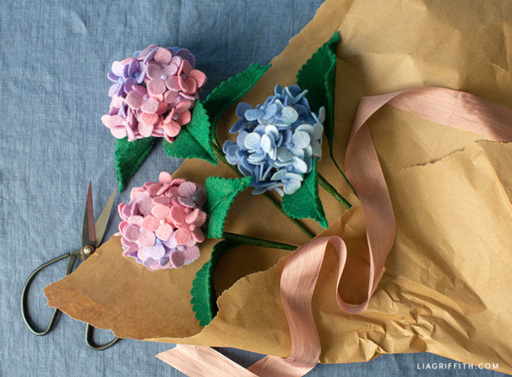 blue and pink felt hydrangeas