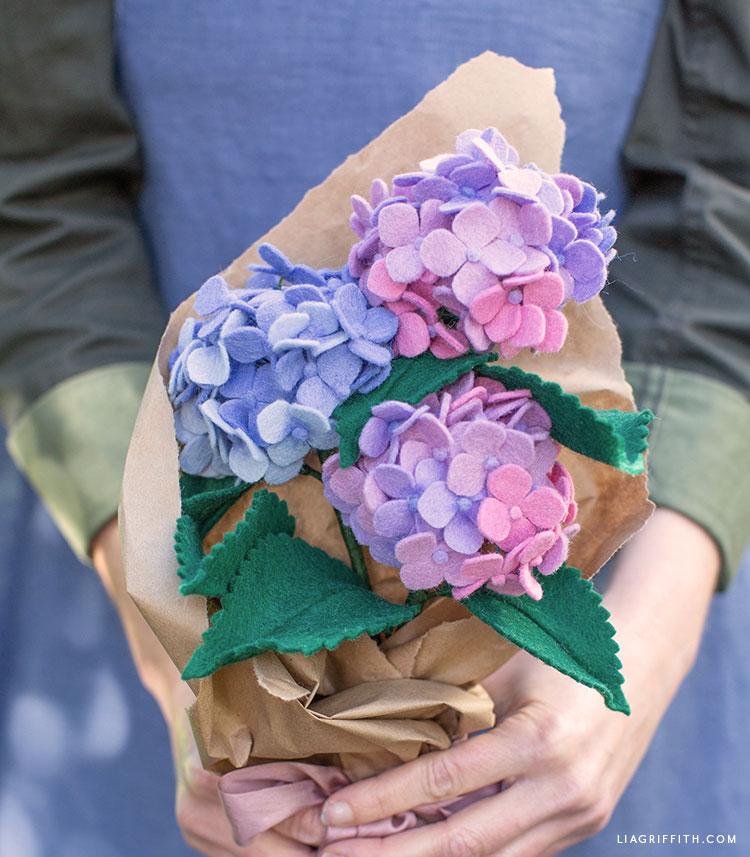 felt hydrangea bouquet