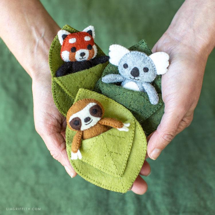 handmade felt animal pocket pals