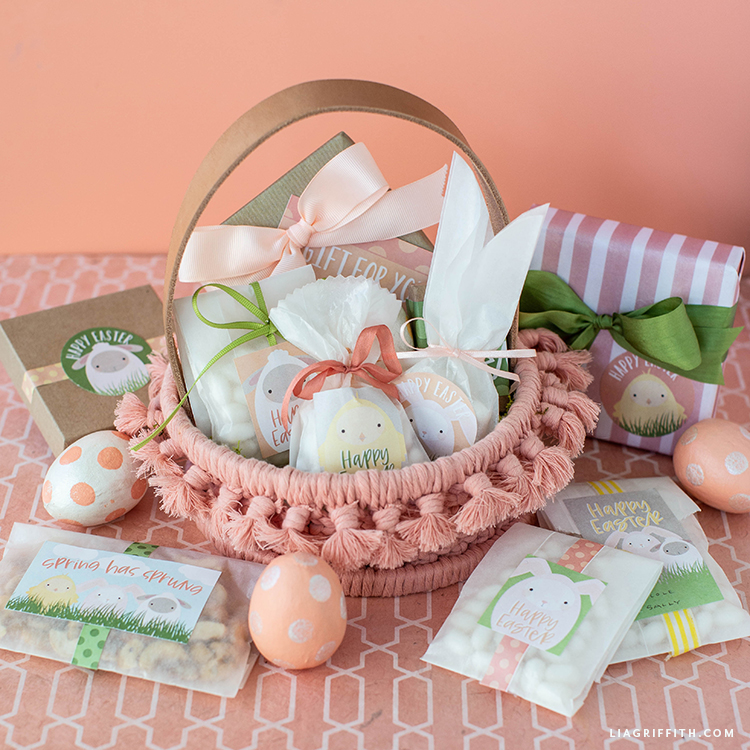 Macrame Easter basket with Easter treats and presents