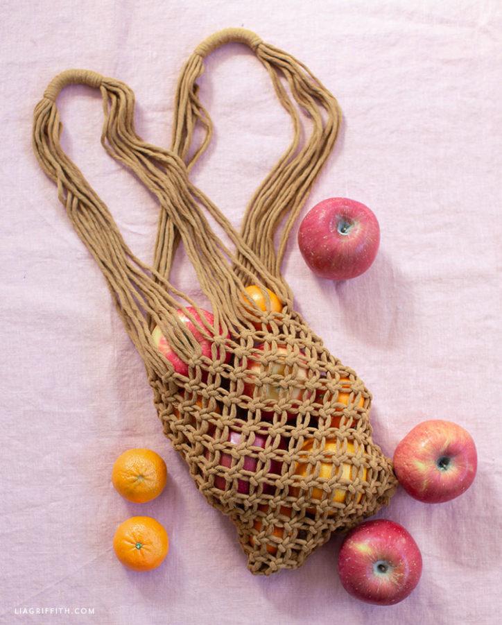 small macrame tote bag