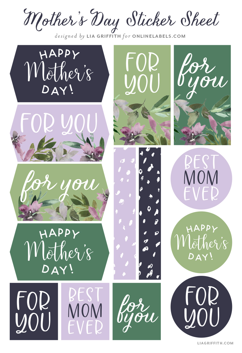 Mother's Day stickers designed by Lia Griffith