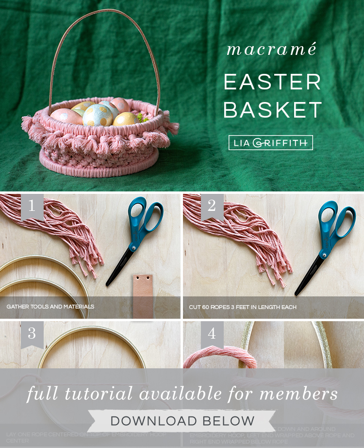 Photo tutorial for macrame Easter basket by Lia Griffith