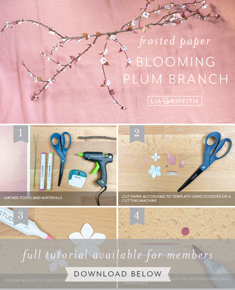 Photo tutorial for frosted paper plum blossom branch by Lia Griffith