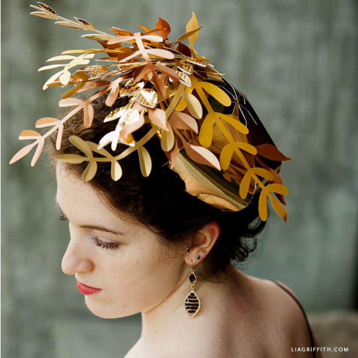 gold paper leaf Kentucky derby fascinator