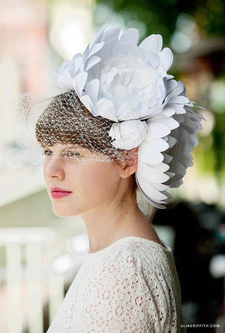 white paper flower Kentucky derby fascinator