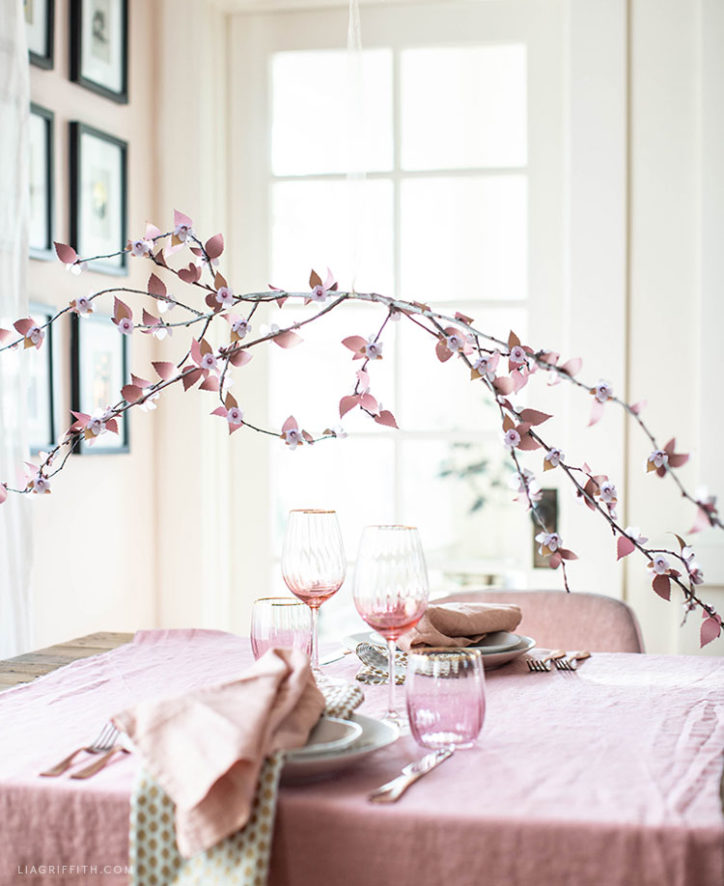 DIY frosted paper plum blossom branch