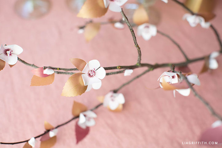 frosted paper plum blossom branch