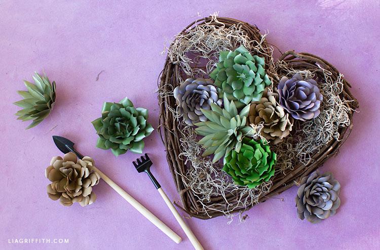 DIY paper succulent mini garden