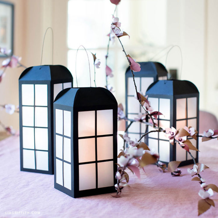 paper windowpane lanterns