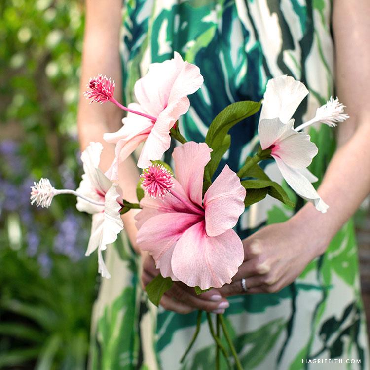 crepe paper hibiscus flower bouquet