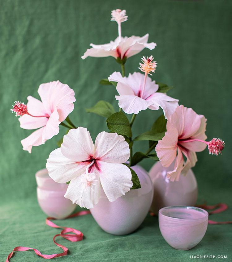 crepe paper hibiscus flower DIY bouquet