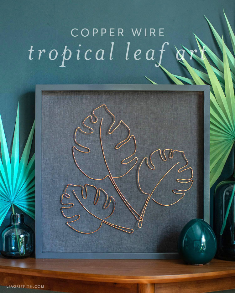 copper wire tropical leaf art