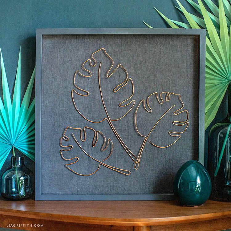 copper wire monstera leaves framed art for mantel