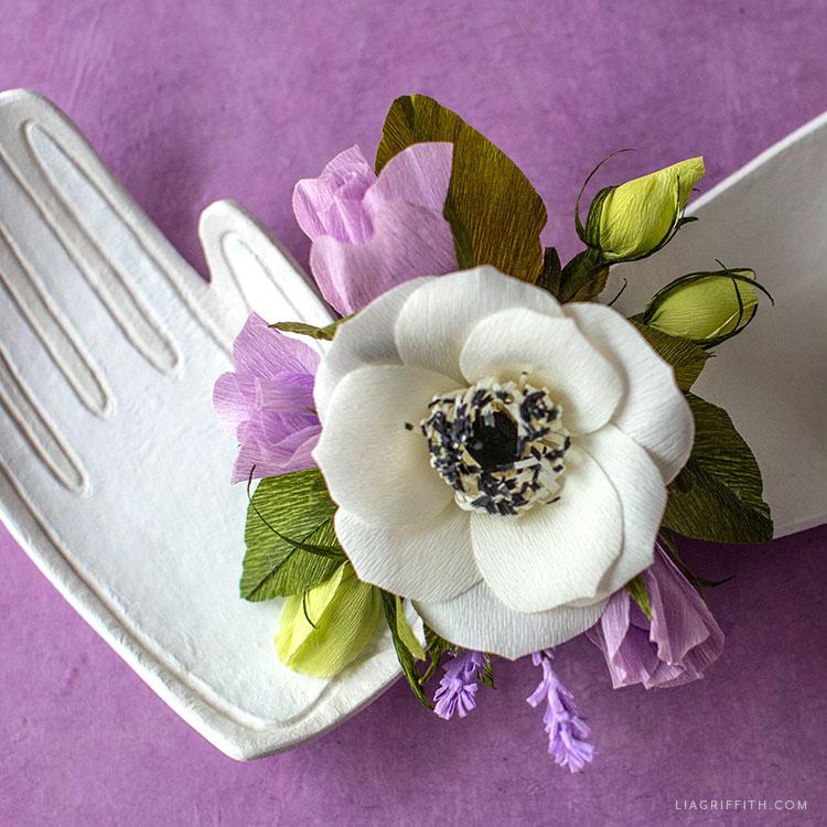 crepe paper flower wrist corsage