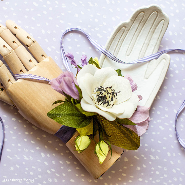 crepe paper anemone and lisianthus wrist corsage