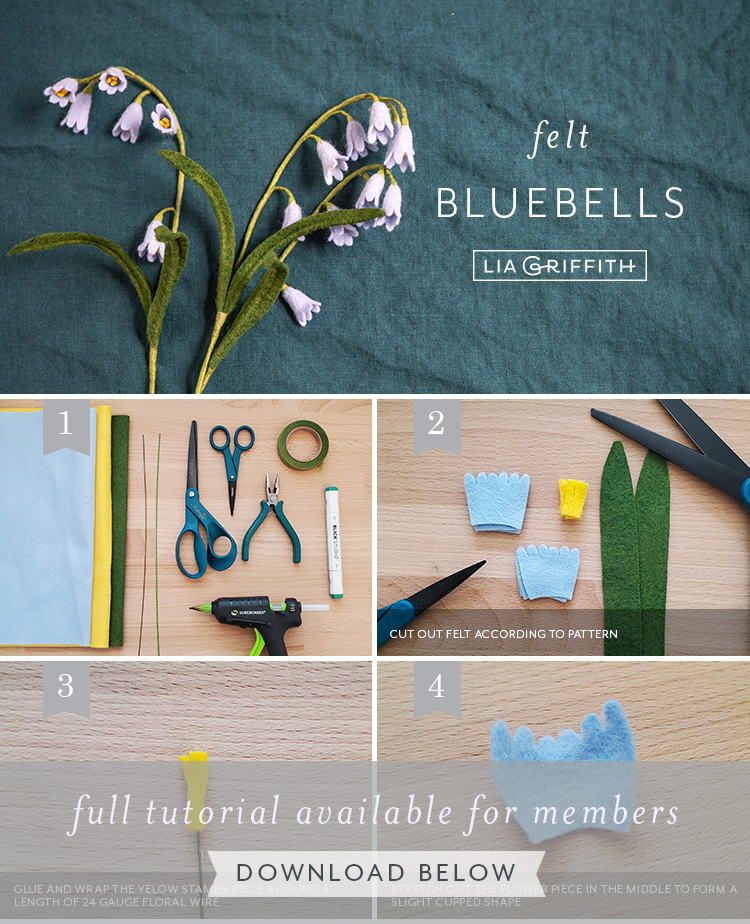 Photo tutorial for felt bluebells by Lia Griffith