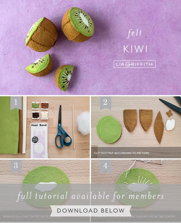 Photo tutorial for felt kiwi by Lia Griffith