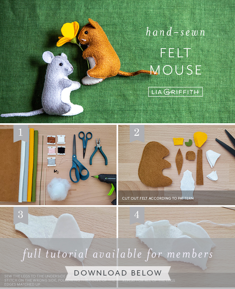 Photo tutorial for felt mouse stuffie by Lia Griffith