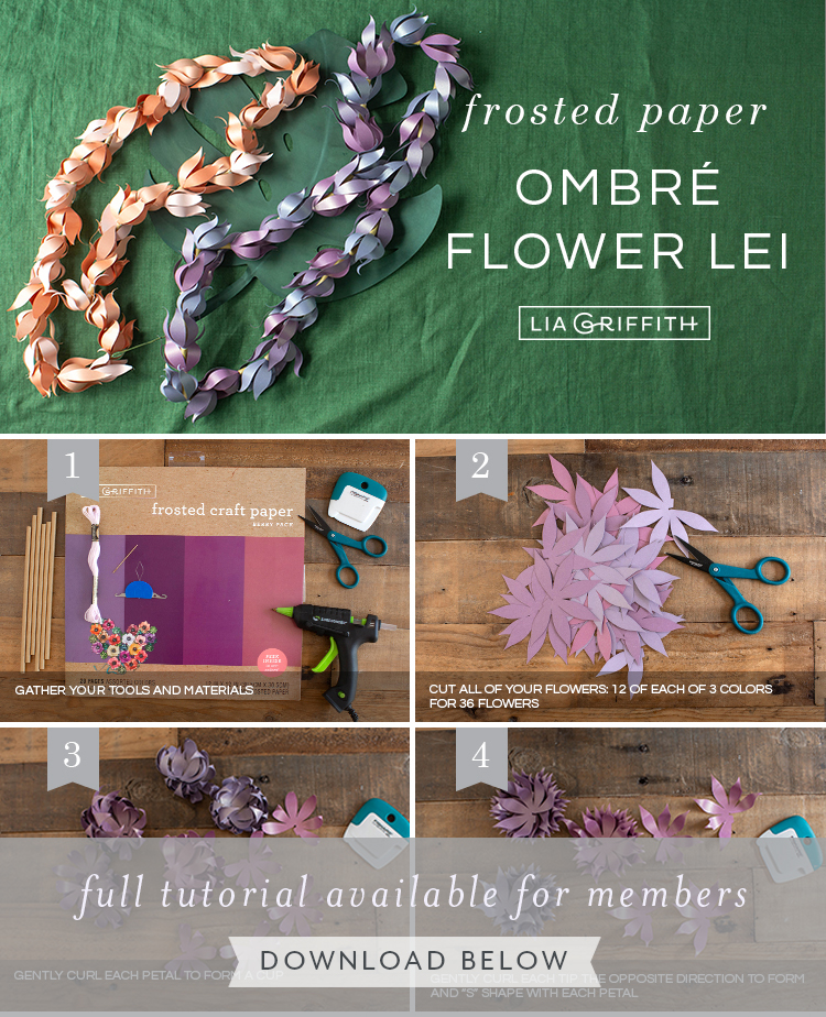 Photo tutorial for frosted paper flower leis by Lia Griffith