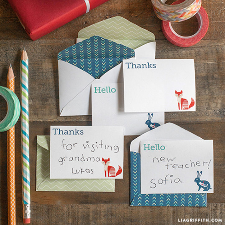 mini note cards and envelopes for kids