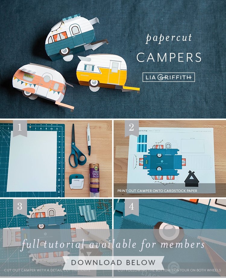 Photo tutorial for printable campers by Lia Griffith