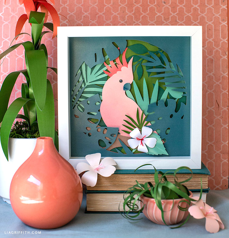 papercut cockatoo tropical art and paper tropical flowers