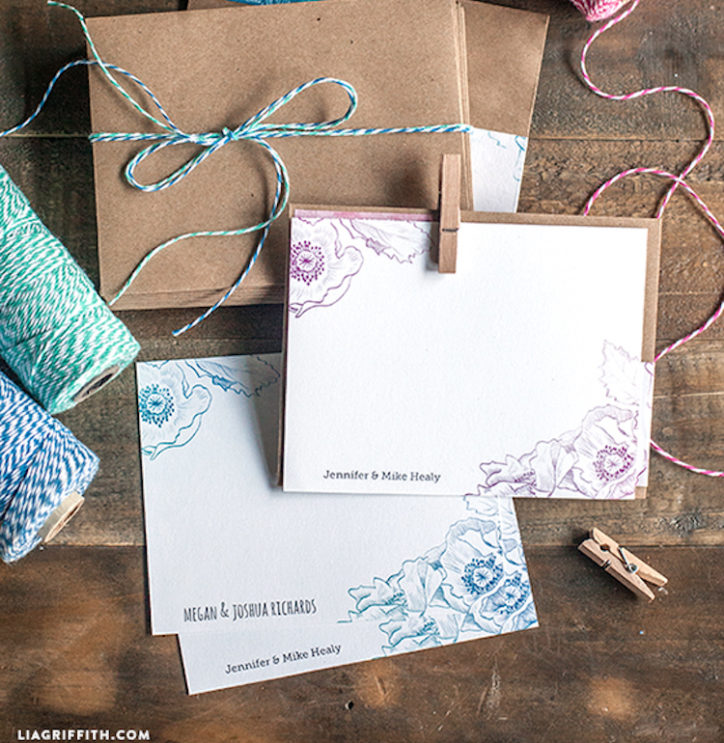 floral note cards and watercolor letterhead