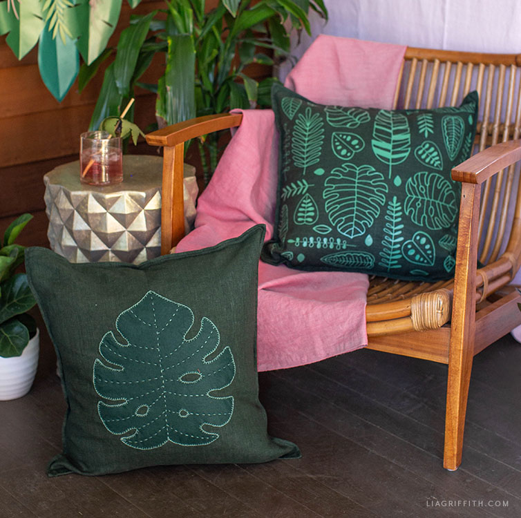 handmade tropical leaf pillows