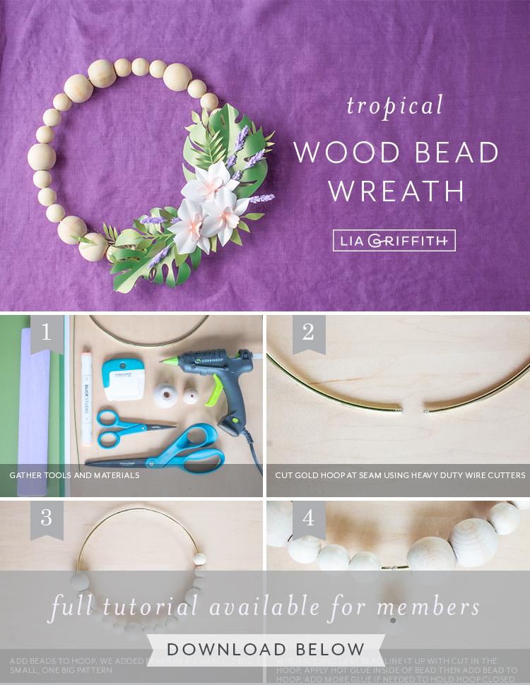 Photo tutorial for tropical wood bead wreath by Lia Griffith