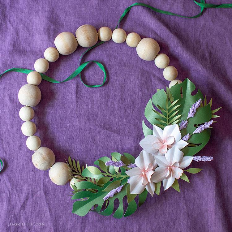 DIY wood bead tropical wreath