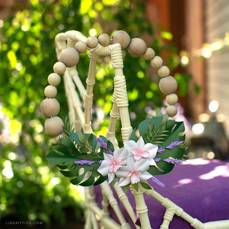 wood bead floral wreath