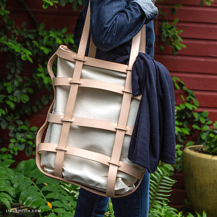 Handmade woven leather tote bag