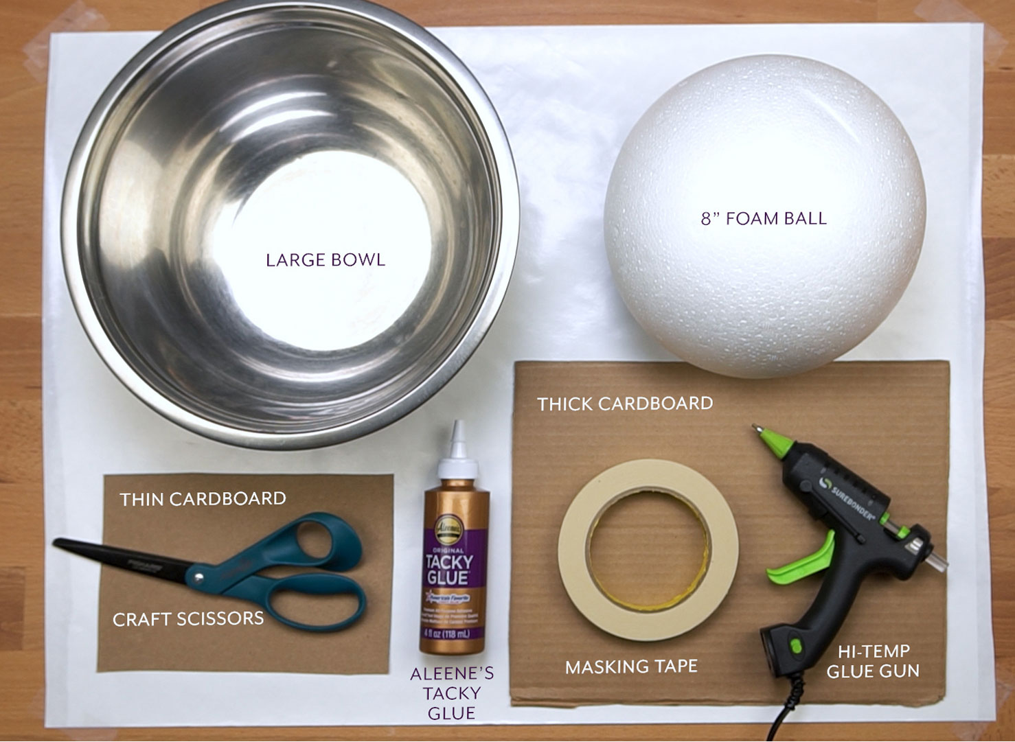 Tools and materials for paper mache leopard