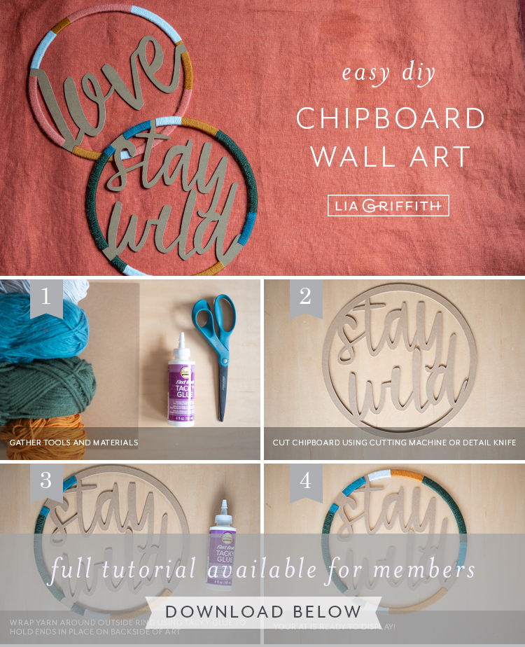 Photo tutorial for chipboard and yarn wall art by Lia Griffith