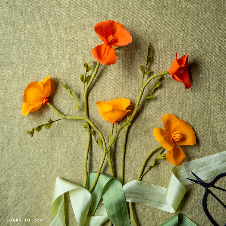 handmade crepe paper California poppies