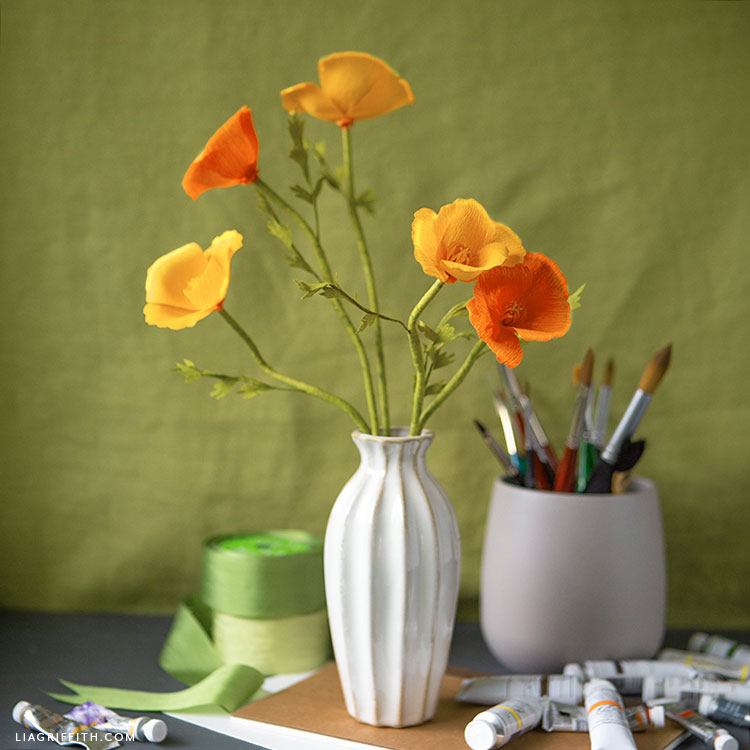 crepe paper California poppies bouquet