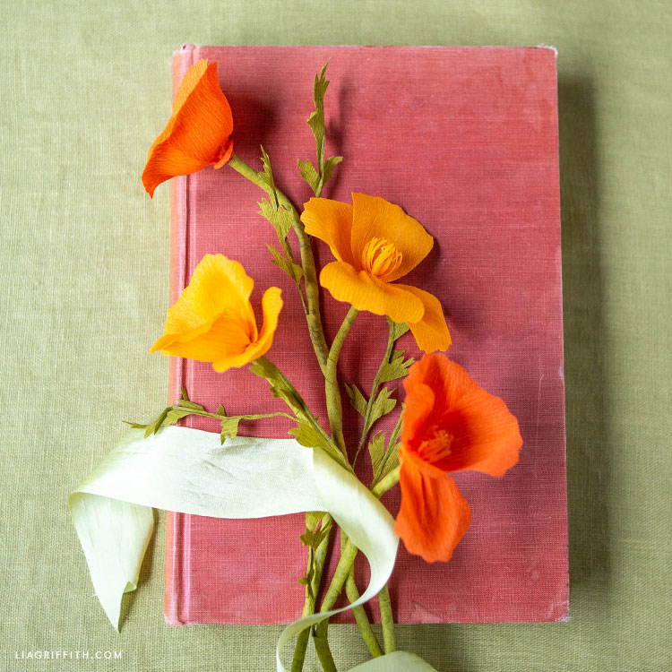 DIY crepe paper California poppies