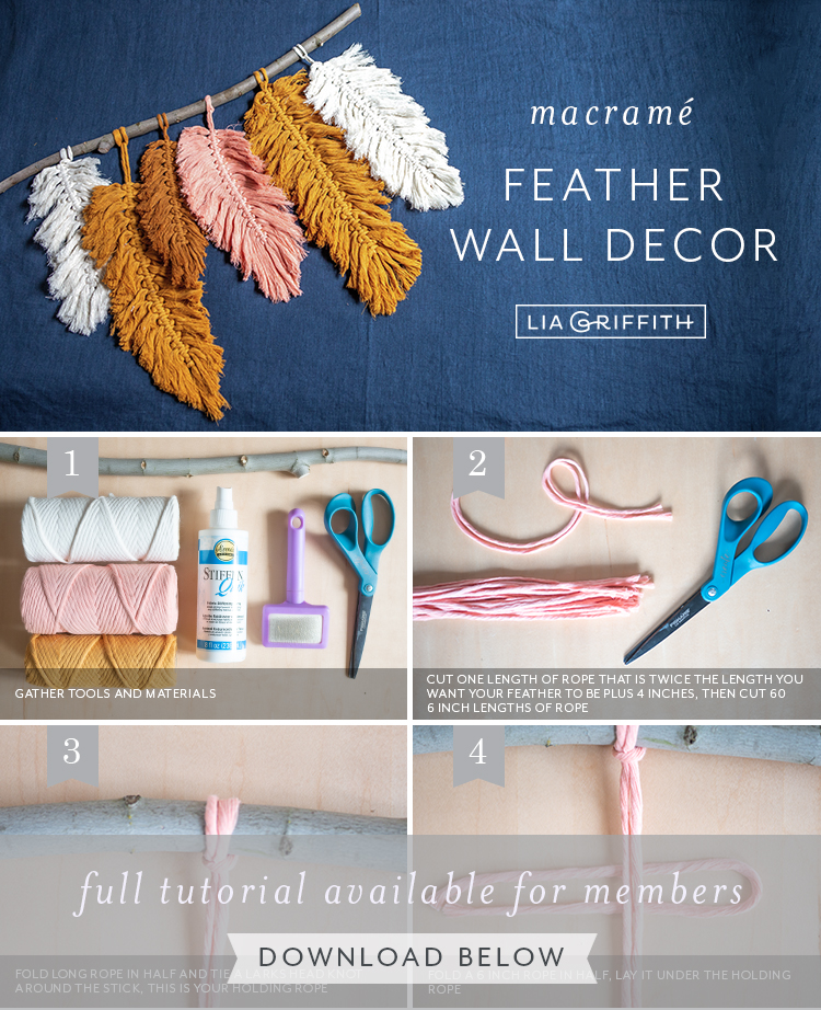 Photo tutorial for macrame feather wall decor by Lia Griffith